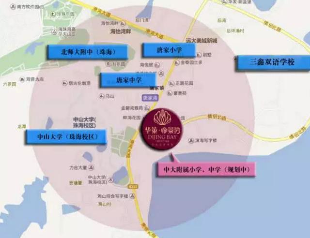 珠海唐家湾新城内前环,后环,北围三个片区的区域联动将成为未来城市